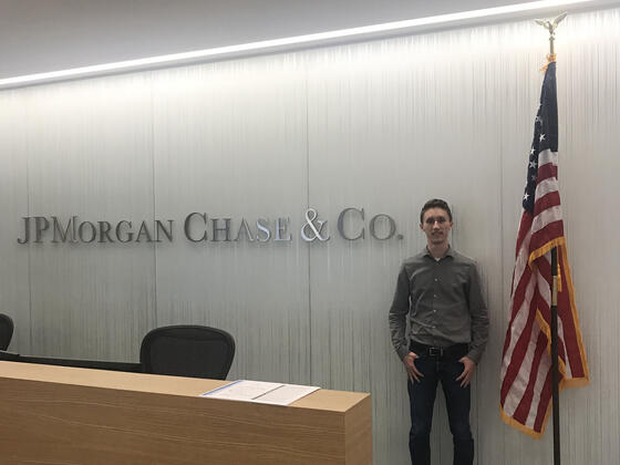 Daniel Smith at summer internship at JP Morgan Chase & Co. in Newark, Del.