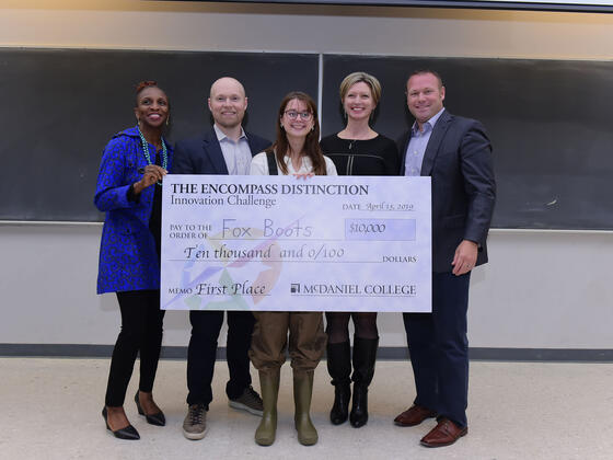 McDaniel student Rachael Fox, an Environmental Studies major, and her Fox Boots earned the top prize at the fourth Innovation Challenge finals.