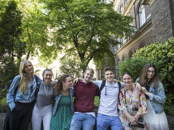 Students outside of Budapest campus.