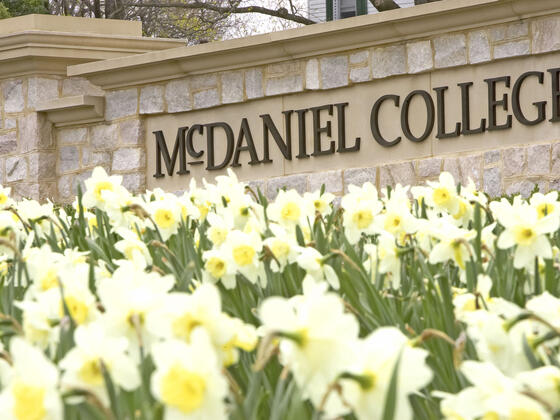 McDaniel College entrance sign in Spring.