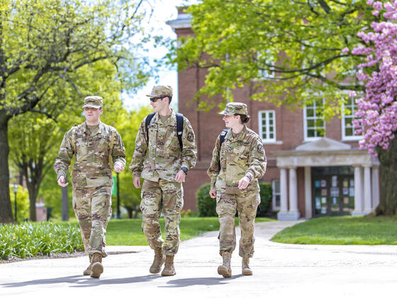 ROTC students walking across campus.