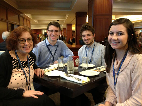 McDaniel Psychology professor Wendy Morris (left) with students Matt Allen, Max Seigel and Katie Keegan at the Association for Psychological Science conference in Boston.