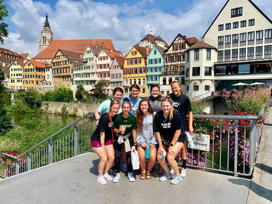 Women's Soccer team in the Alps.