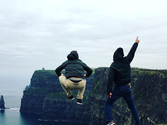 Students, Will and Wade, at the Cliffs of Moher.