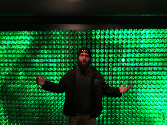 Wade at the Heineken Brewery In Amsterdam.