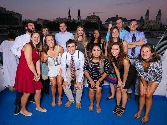 Students on a River Cruise in Budapest.