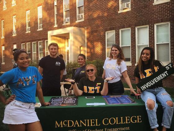 Student Engagement Peers tabling for Office of Student Engagement