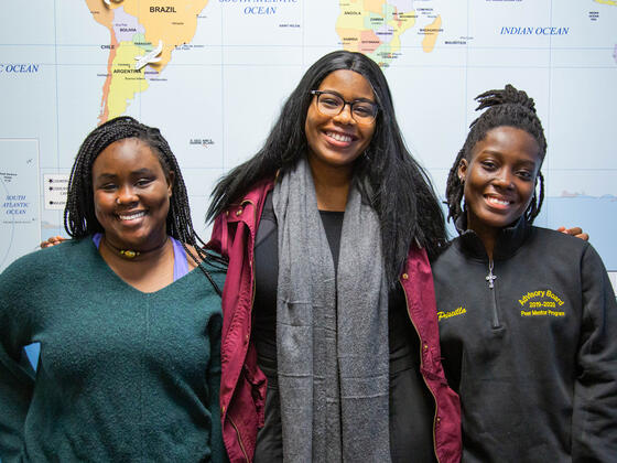 McDaniel College Gilman scholarship recipients (l-r) Faith Young, Emem Akpan and Priscilla Owusu will study abroad during the spring semester and over the summer of 2020