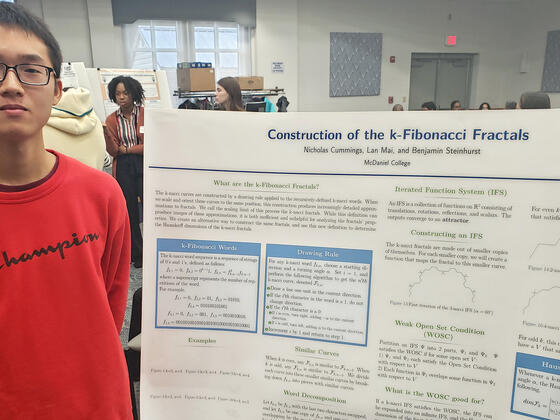 "McDaniel College student Lan Mai presented at the Maryland Collegiate Honors Conference, Feb. 28-29. Mai's poster presentation was titled ""Construction of the k-Fibonacci Fractals"" and based on his summer research."