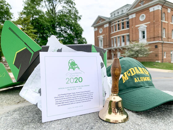 McDaniel graduates received their celebration in a box – their own commemorative bell to ring during the Zoom bell-ringing and a McDaniel baseball cap welcoming them to the Alumni Association.
