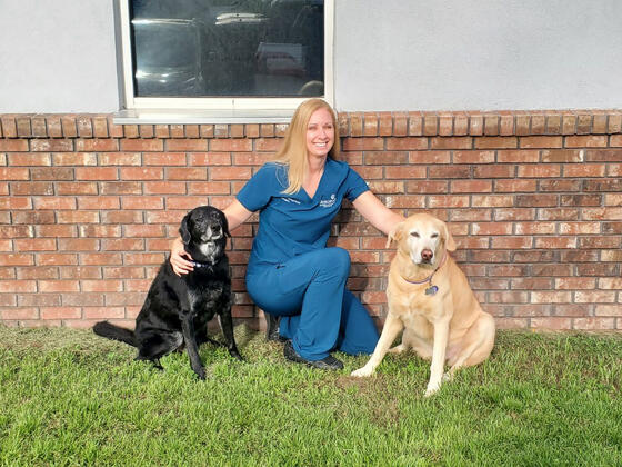 Photo of Dr. Theresa Hess '07 with her dogs