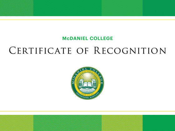 McDaniel College Certificate of Recognition