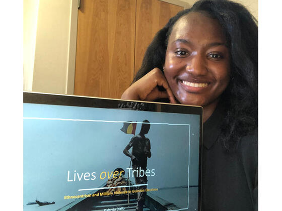 "McDaniel College junior Dalanda Diallo presented ""Lives over Tribes: Ethnocentrism and Military Violence in Guinean Elections"" at the virtual Maryland Collegiate Honors Council Conference."