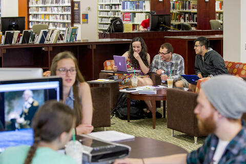 Students in Hoover Library.