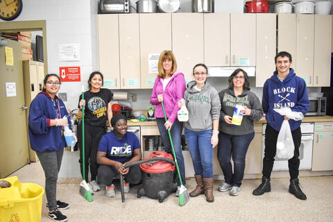 McDaniel students Sofia Mendez, Lilly Figueroa, Jessica Kam and Steve Pabon along with college staff members Valerie Westbrook, Erin Benevento and Mary Dietz cleaned the Cold Weather Shelter in Westminster on Monday.