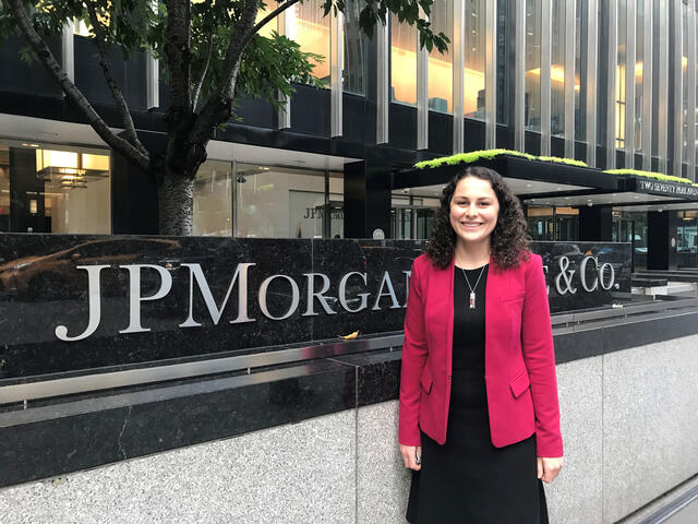 Julia Wainwright at JP Morgan Chase on Wall Street