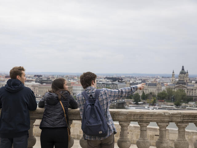 Students exploring Budapest.