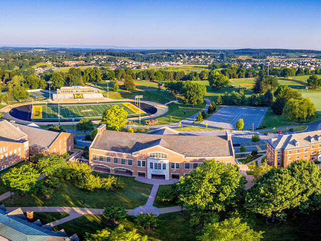 Aerial view of McDaniel College campus.