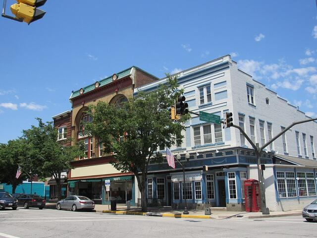 Storefronts in downtown Westminster, Maryland.