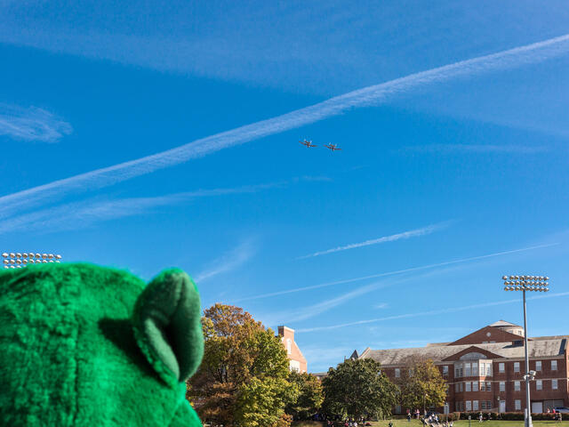 Green Terror mascot looking at campus.
