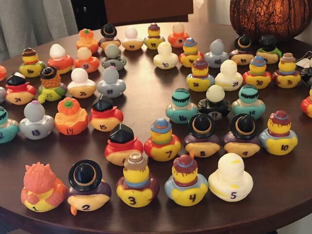 A collection of rubber duckies for the annual duck hunt.
