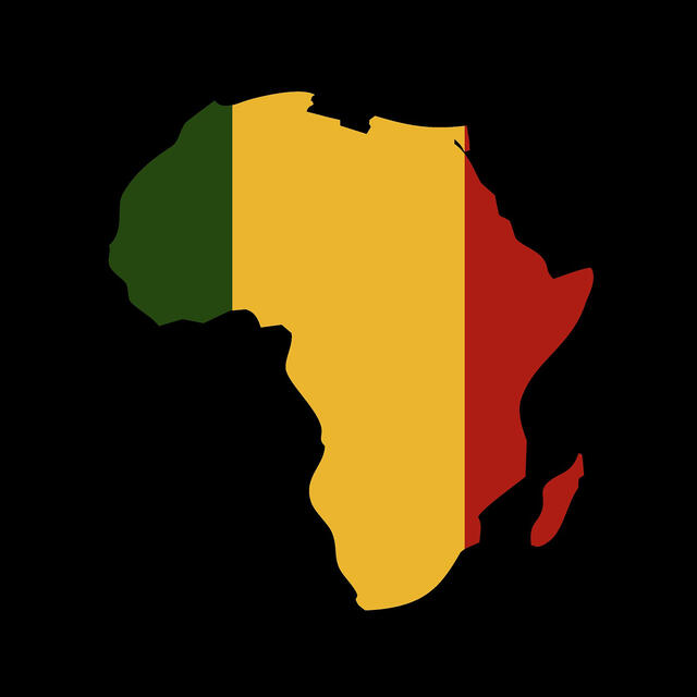 African flag in shape of Africa