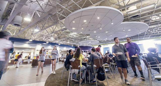Students in Englar Dining Hall.