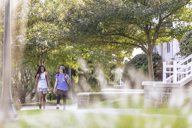Students walking around North Village.