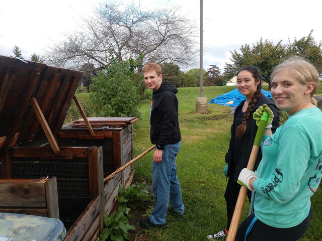 Compost Club students work on their Griswold-Zepp project.