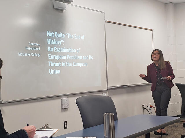 "student Courtney Rosenstiehl gave a presentation called ""Not Quite 'The End of History': An Examination of European Populism and its Threat to the European Union"" at the Maryland Collegiate Honors Conference"