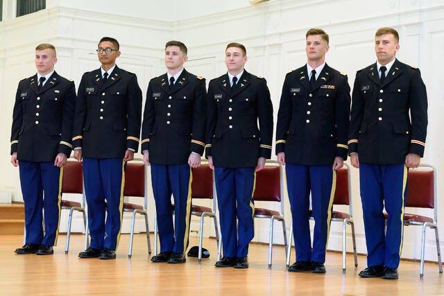 Newly commissioned officers at McDaniel's May 2019 Commissioning ceremony