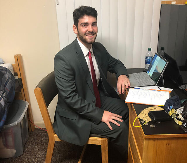 McDaniel Junior Shea Dougherty prepares to log on to his virtual interviews with accounting firms.