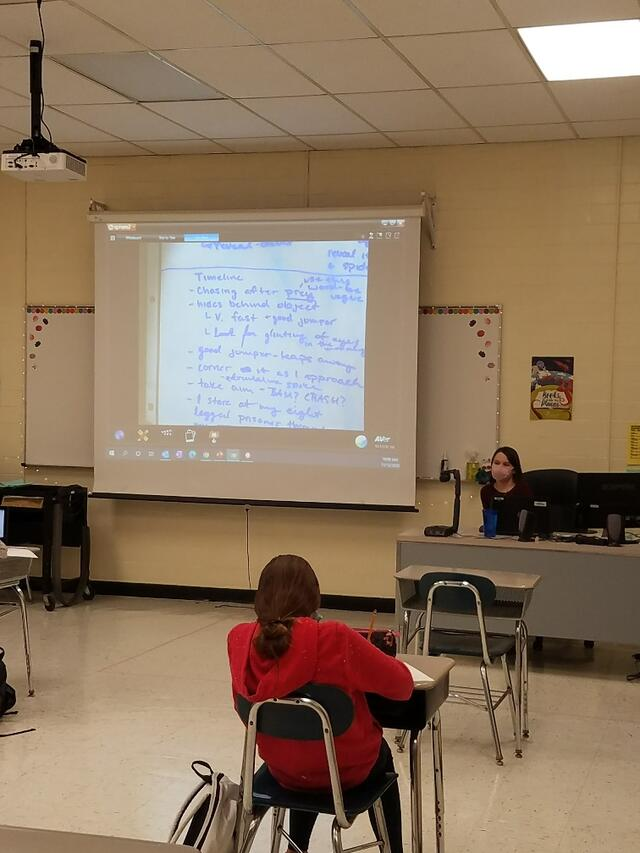 Carroll County Public Schools teacher Rose Sparks '20 teaches class at East Middle School.