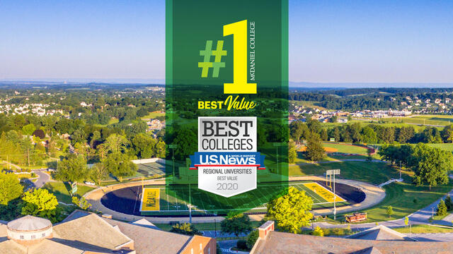 US News-#1 Best Value badge overlaid on McDaniel aerial campus view.
