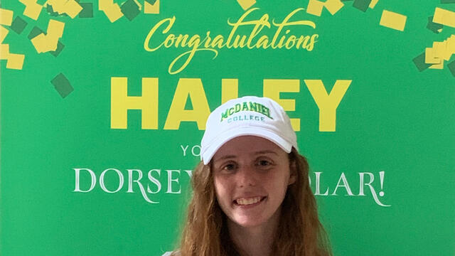 Haley Arnold received the surprise announcement that she has been selected as a Dorsey Scholar at McDaniel College