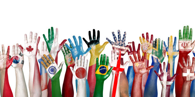 Group of Diverse Flag Painted Hands Raised