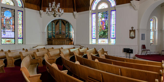 Interior of Baker Memorial Chapel.