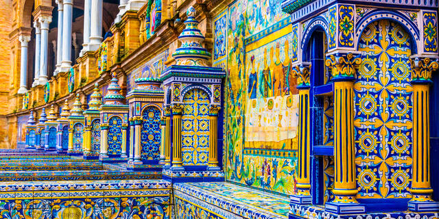 The tiled walls of Plaza de Espana in Seville, Spain.